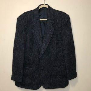 Vintage men's navy Harris tweed blazer jacket lrg
